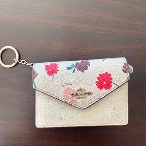 Coach   Floral ID Card Case Mini Cream Wallet